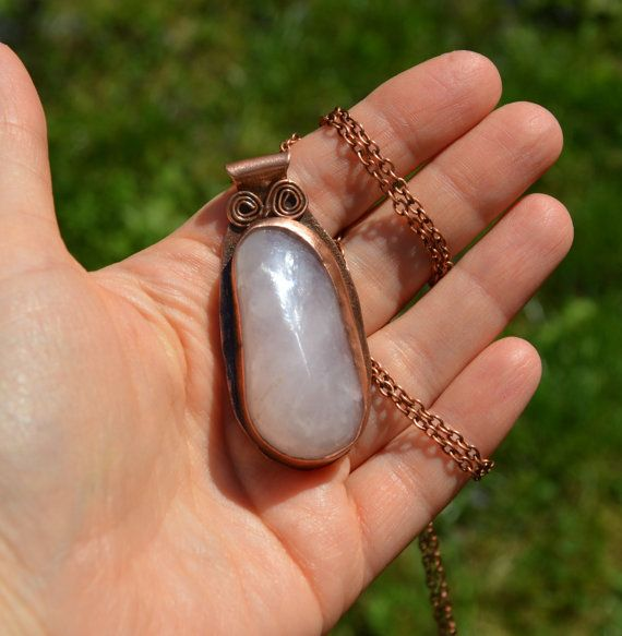 quartz pendant pink quartz statement pendant by CopperFinger