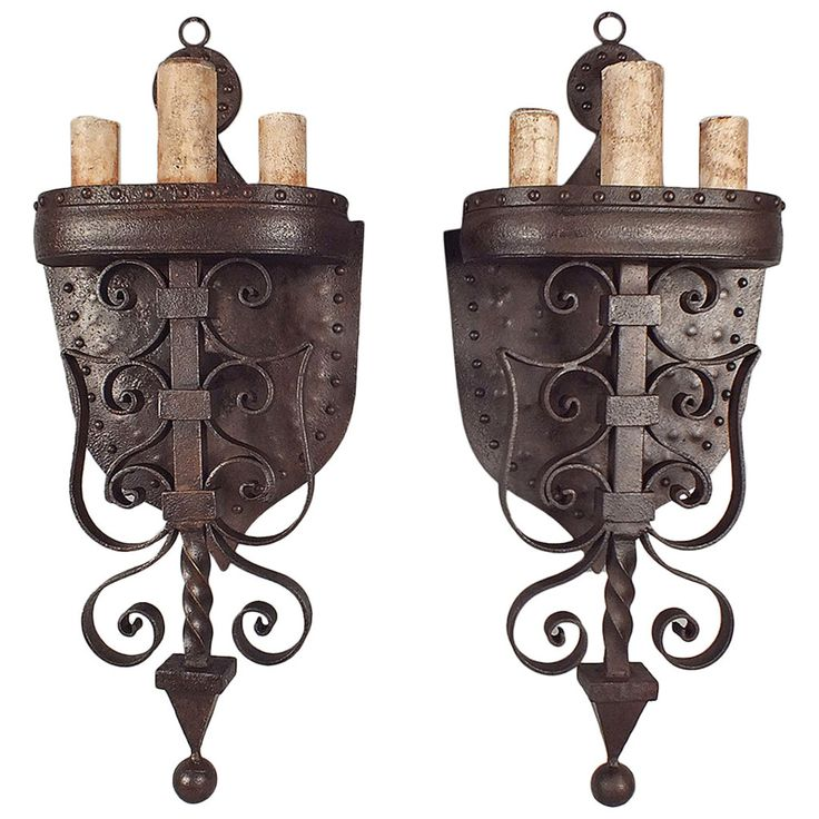 Pair Of Large Wrought Iron Baroque Style Wall Sconces