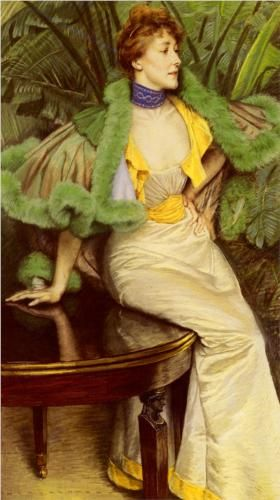 The Princesse De Broglie - James Tissot / Green fur or feathers with a yellow dress works!