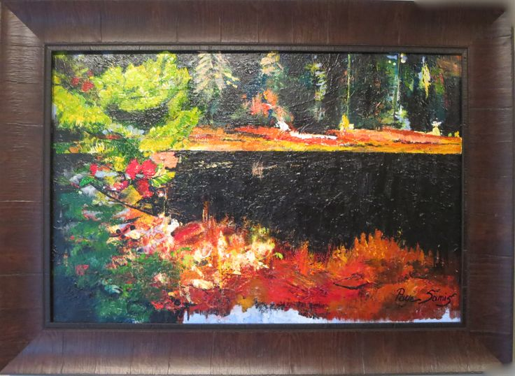"""YEW LAKE AT CYPRESS MOUNTAIN JUST BEFORE THE SNOW..ACRYLIC ON CANVAS 32""""X44"""""""