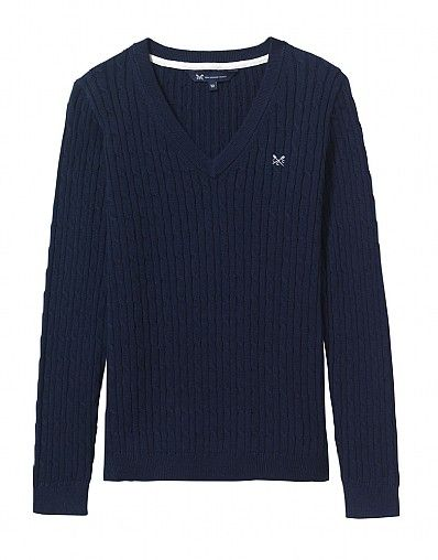 Heritage Cable V Neck Jumper_1