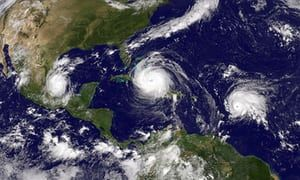 Florida Prepares For Major Hit By Hurricane IrmaCARIBBEAN SEA - SEPTEMBER 8: In this NASA/NOAA handout image, NOAA's GOES satellite shows Hurricane Irma (C) in the Caribbean Sea, Tropical Storm Jose (R) in the Atlantic Ocean and Tropical Storm Katia in the Gulf of Mexico taken at 15:45 UTC on September 08, 2017. Hurricane Irma barreled through the Turks and Caicos Islands as a category 4 storm en route to a destructive encounter with Florida this weekend. (Photo by NASA/NOAA GOES Project via…