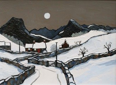 British Artist David BARNES - Snow in Denbighshire