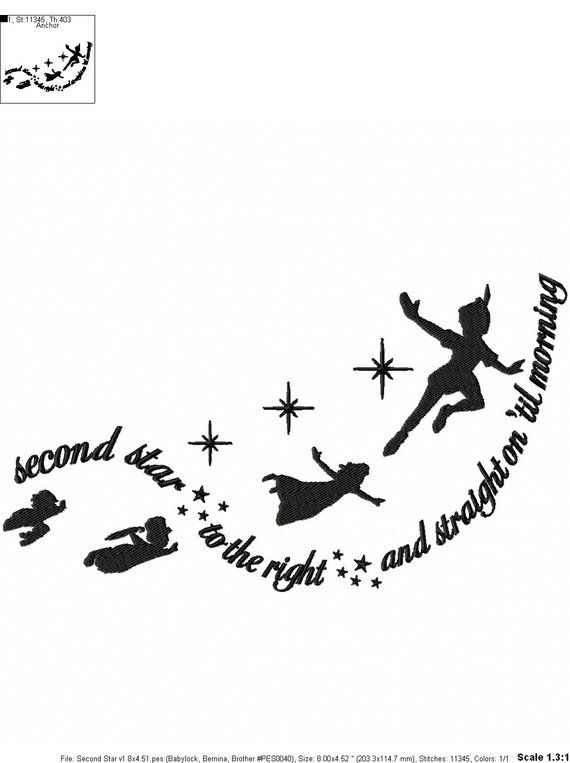 Peter Pan Quotes Embroidery Design Second Star Peter Pan