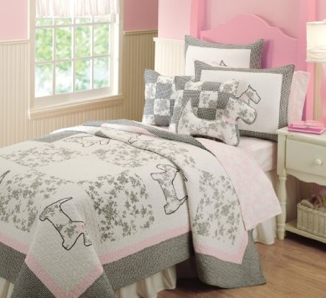 Cute girls bedroom dog bedding scottie dog theme decor for Dog themed bedroom ideas