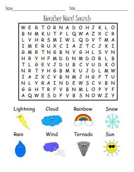 free weather word search puzzle with pictures and words to build vocabulary kindergartenklub. Black Bedroom Furniture Sets. Home Design Ideas