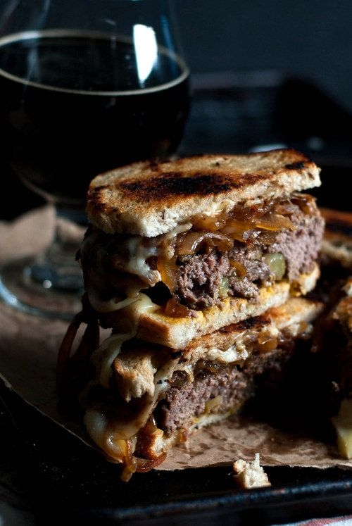 Sweet Pickle Patty Melts with Caramelized Onion, Swiss Cheese and Spicy Mustard