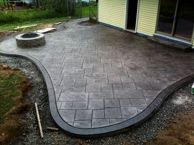 Remarkable Stamped Concrete Patio With Fire Pit Stamped Concrete