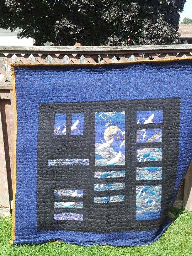 Back of Quinns Crane Quilt