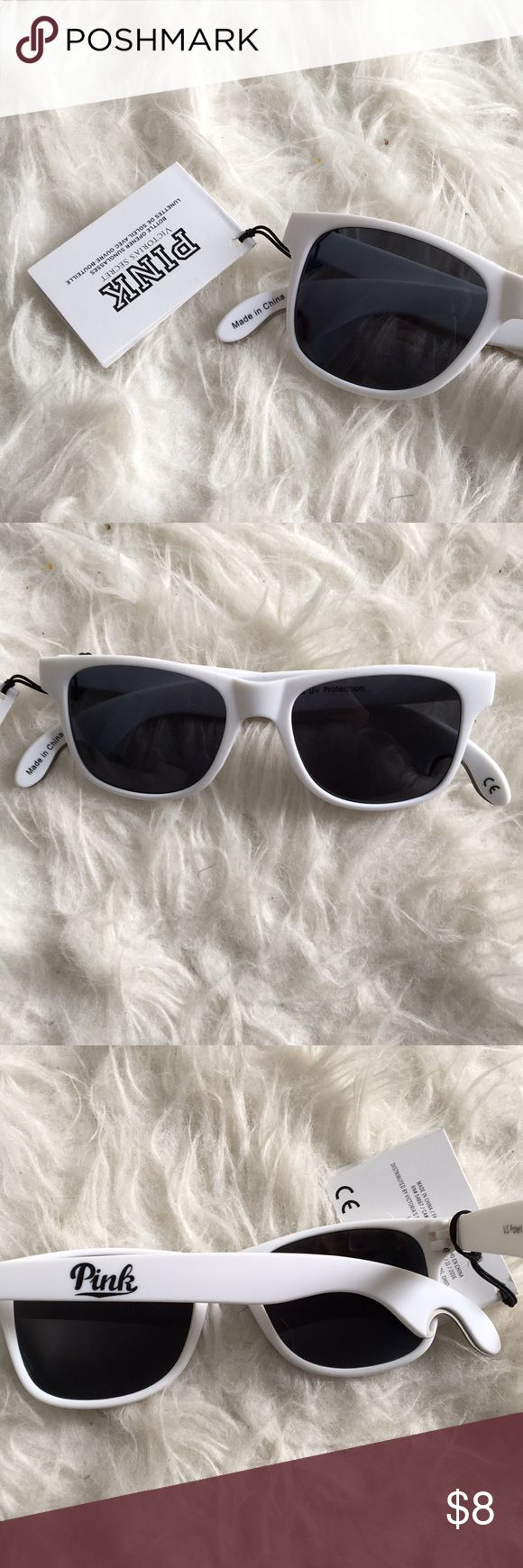 PINK White Ray Ban Style Sunglasses Never worn before, in perfect condition! Has bottle openers on the ends, great for summer parties! PINK Accessories Glasses
