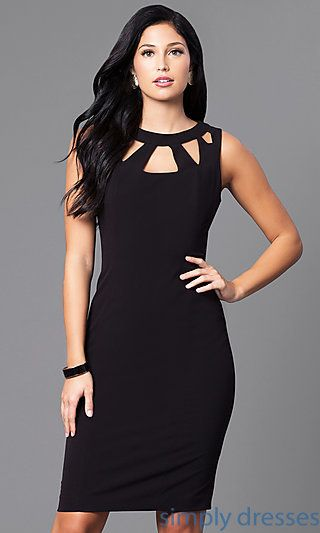 Black Cocktail Party Knee Length Dress with Cut Outs