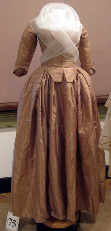 Silk taffeta round gown, on loan from the Chester County Historical Society — at Pottsgrove Manor.
