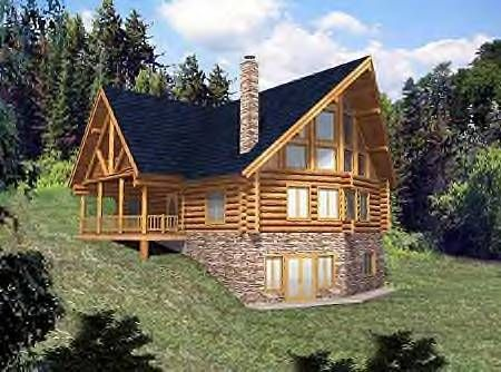 Two story house plan with walkout basement walkout for Contemporary log home plans