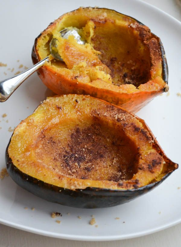 Acorn squash roasted with brown sugar and a hint of cinnamon is DELISH!