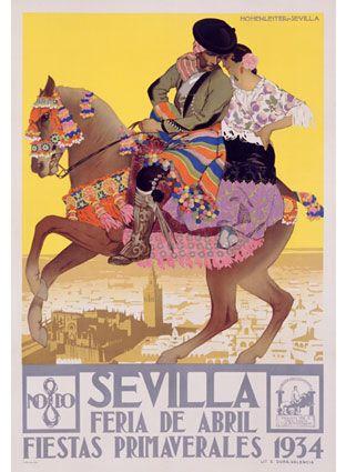 Sevilla, Feria de Abril. Fiestas primaverales, 1934 :: Vintage travel poster for Spain #Spain #tourism #travel #poster