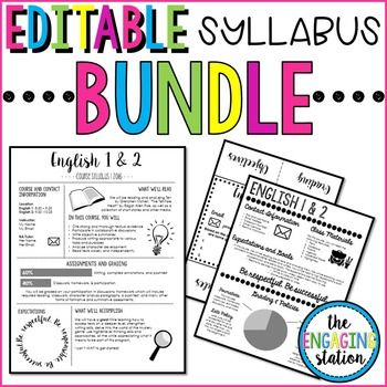 You will receive all of my syllabus templates in one bundle. Each template comes with filled-in version and a blank canvas. The templates also have visual aspects to them. If you have not heard of a visual syllabus, it is a standard syllabus organized in a more appealing format with some (or lots) of clip art and design elements.                                                                                                                                                     More