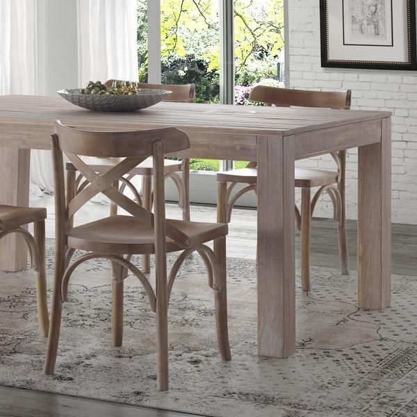 Montauk solid wood dining table modern farmhouse chairs for Solid wood farm table