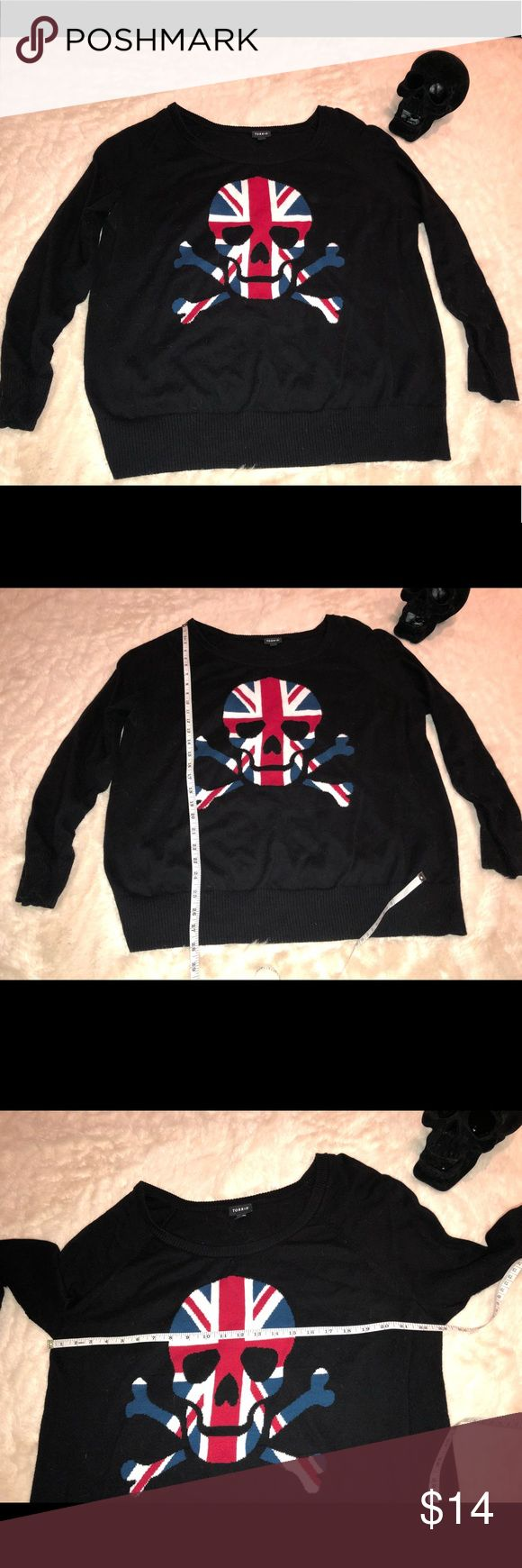 Torrid UK British skull sweater plus size 2 Torrid skull sweater plus size 2 with a cute UK skull on the front. There is some pulling on the sweater/sleeves as shown in pictures  All items come from smoke free home. 🐺Husky friendly environment. All items are kept in plastic containers, but shed happens 😊 torrid Sweaters