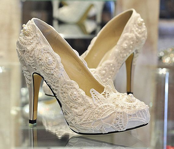 Lace Wedding Shoes, Pearl White Lace Daisy Bridal Shoes, Ballet Flat Shoes, High Heel, Wedding Shoes, Bridesmaid Shoes, Beaded Lace Shoes