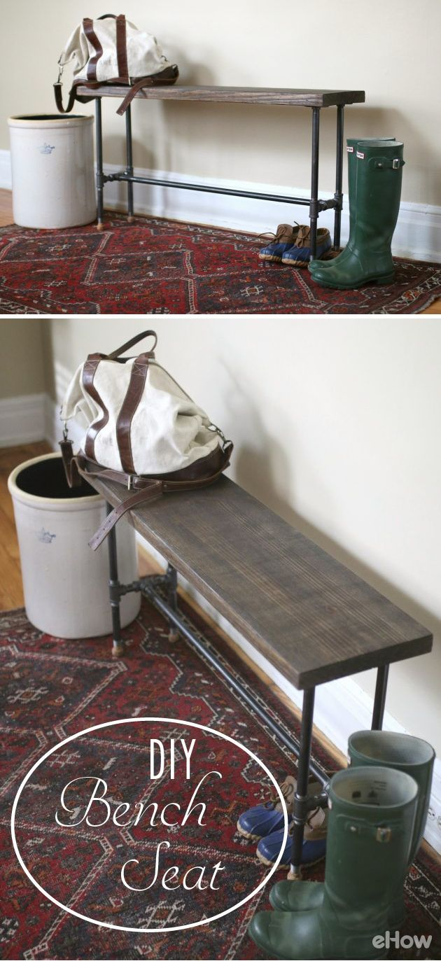 Making a modern industrial bench isn't outside the skill level of a beginning DIYer -- you can even have the hardware store cut your lumber to size for you to make it even easier. Learn how to make it here: http://www.ehow.com/how_4778852_build-bench-seat.html?utm_source=pinterest.com&utm_medium=referral&utm_content=inline&utm_campaign=fanpage