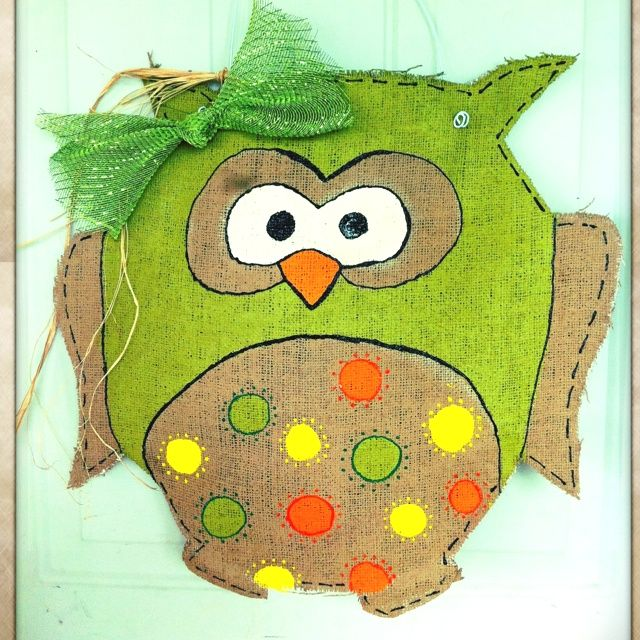 Owl Crafts | Burlap owl door hanger | Crafts: Owl Doors Hangers, Hangers Crafts, Owl Door Hangers, Doors Ideas, Things Owl, Owl Crafts, Burlap Owl, Burlap Ideas, Things Burlap