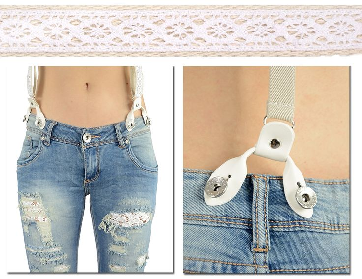 Jeansy spodnie dziury koronka rurki szelki   XL - 5106316023 - oficjalne archiwum allegro