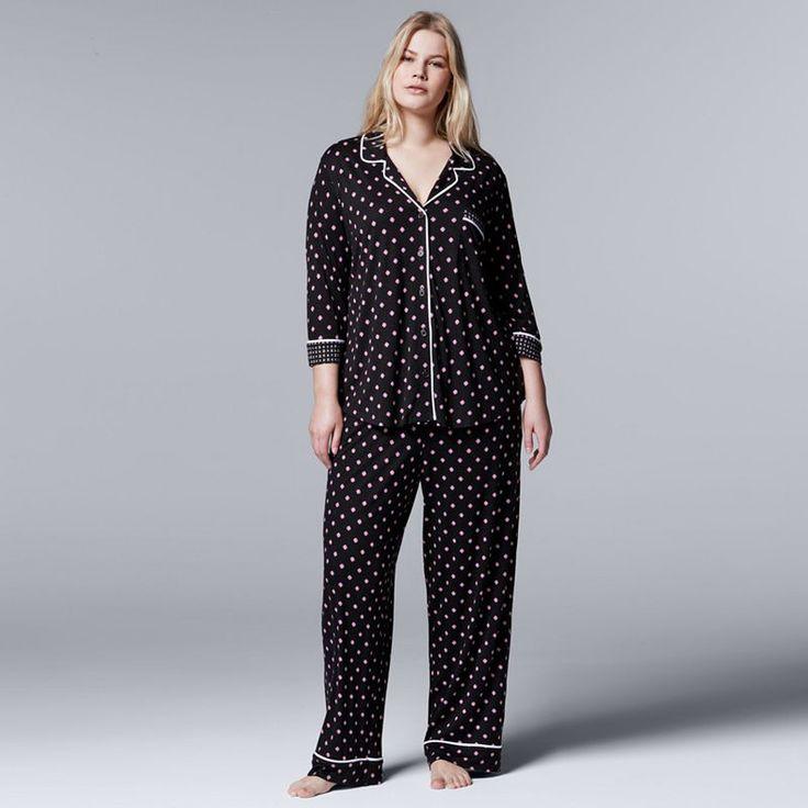 Plus Size Simply Vera Vera Wang Pajamas: Evening Oasis Top & Pants PJ Set, Grey (Charcoal)