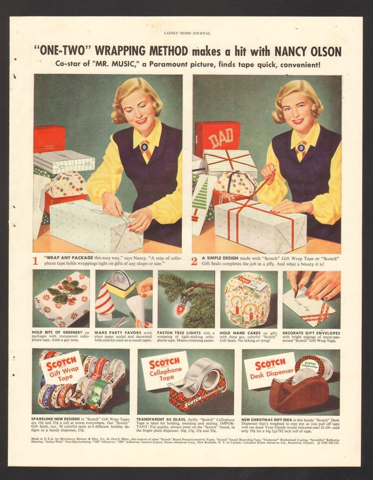 Advintage Plus - 1950 Print Advertisement Scotch Cellophane Tape Nancy Olson star of Mr Music Christmas Wrapping, $9.99 (http://www.advintageplus.com/1950-print-advertisement-scotch-cellophane-tape-nancy-olson-star-of-mr-music-christmas-wrapping/)