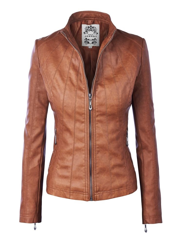 MBJ Womens Panelled Faux Leather Moto Jacket at Amazon Women's Coats Shop