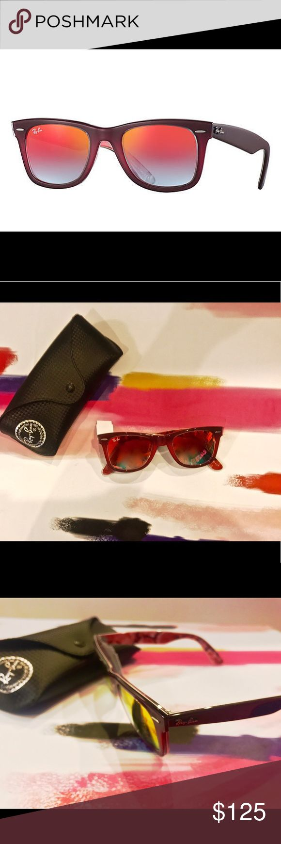 NWT Ray Ban Wayfarers Pink Flash Sunglasses Ray Ban Original Pink Fradient Flash Sunglasses.  Frame is pink/brown with orange/multi colored lenses. Inside frame designed with multi colored flowers. Ray-Ban Accessories Sunglasses