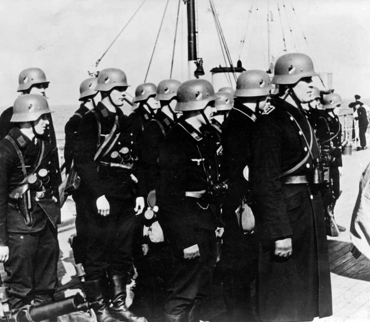Assault group of German sailors aboard the destroyer before landing in Denmark.