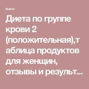 Диета по группе крови 2 (положительная),таблица продуктов для женщин, отзывы и результаты | Kkal.ru