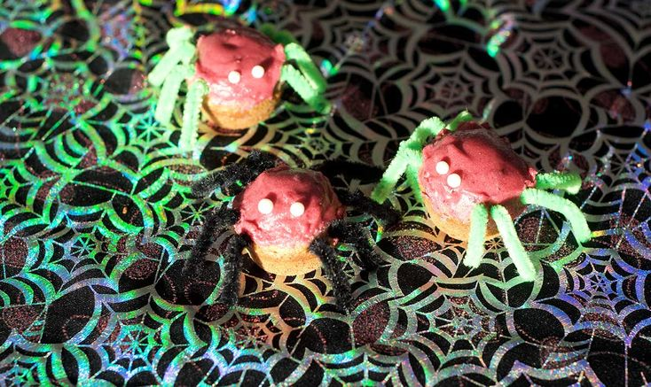 Healthy Halloween treats - Spider muffins and frothy blood jelly.  They seem like treats, but there's a bunch of good nutrition going in too.
