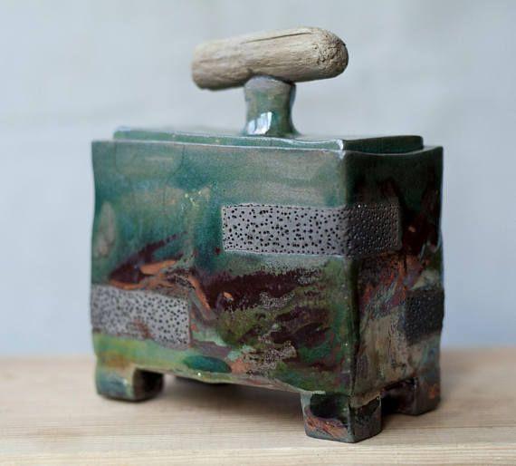 Ceramic box for treasures jewelry box raku ceramic