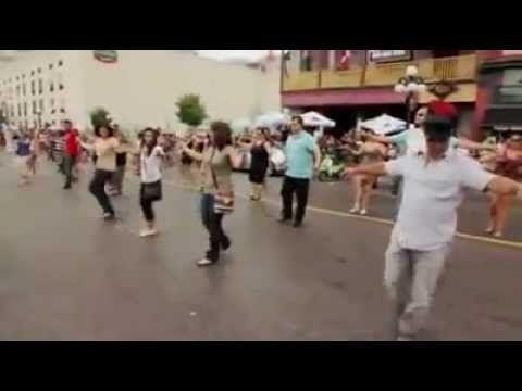 Flash Mob...Dancing Zorbas in street, Ottawa