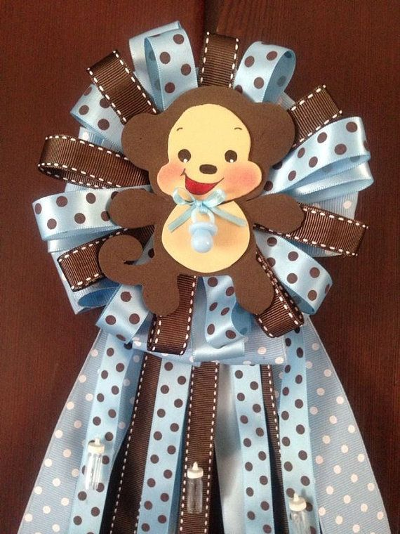 MommyTobe Baby Shower Monkey corsage for boy by designsbyemilys, $19.99
