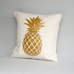 Metallic gold pillow cover Gold pineapple pillow cover by Cut4you