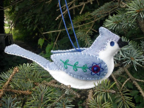 Tufted Titmouse wool blend felt ornament by PatriciaWelchDesigns, $15.00