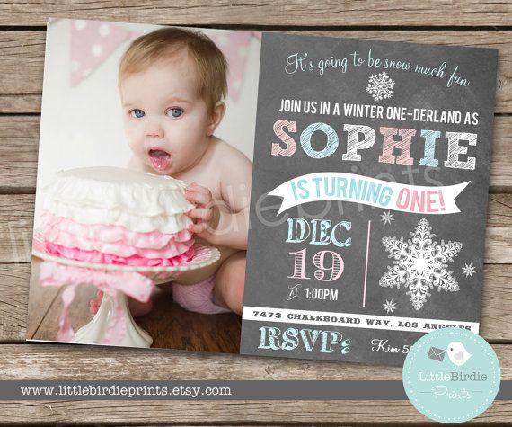 WINTER ONEDERLAND Invitation Chalkboard Invitation Birthday Party First Birthday on Etsy, $16.50