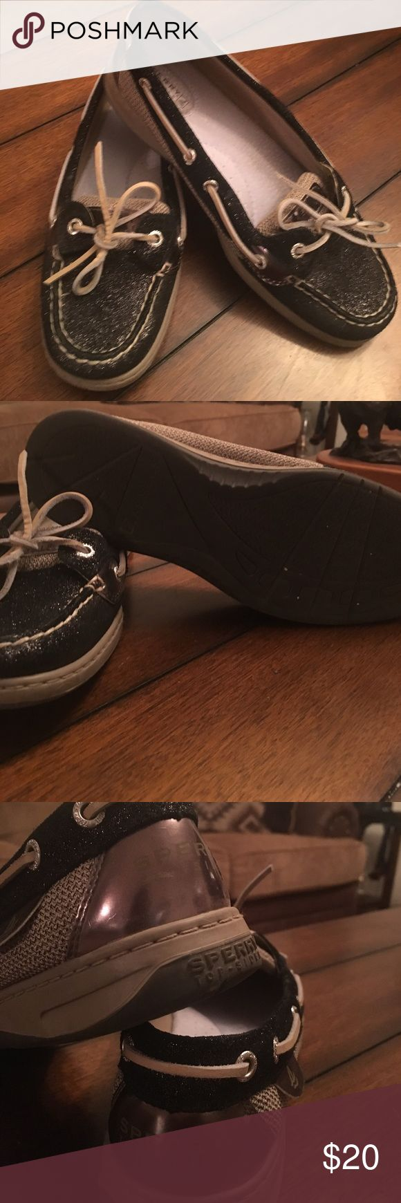Black Sperry Top - Sider Beautiful sparkly black & metallic boat shoes in excellent condition. Sperry Top-Sider Shoes Flats & Loafers
