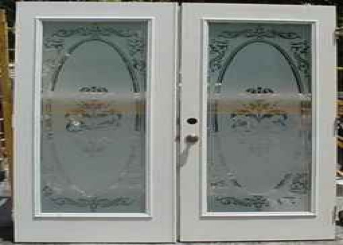 Exterior french doors with etched frosted glass 1 pair for Unique exterior french doors