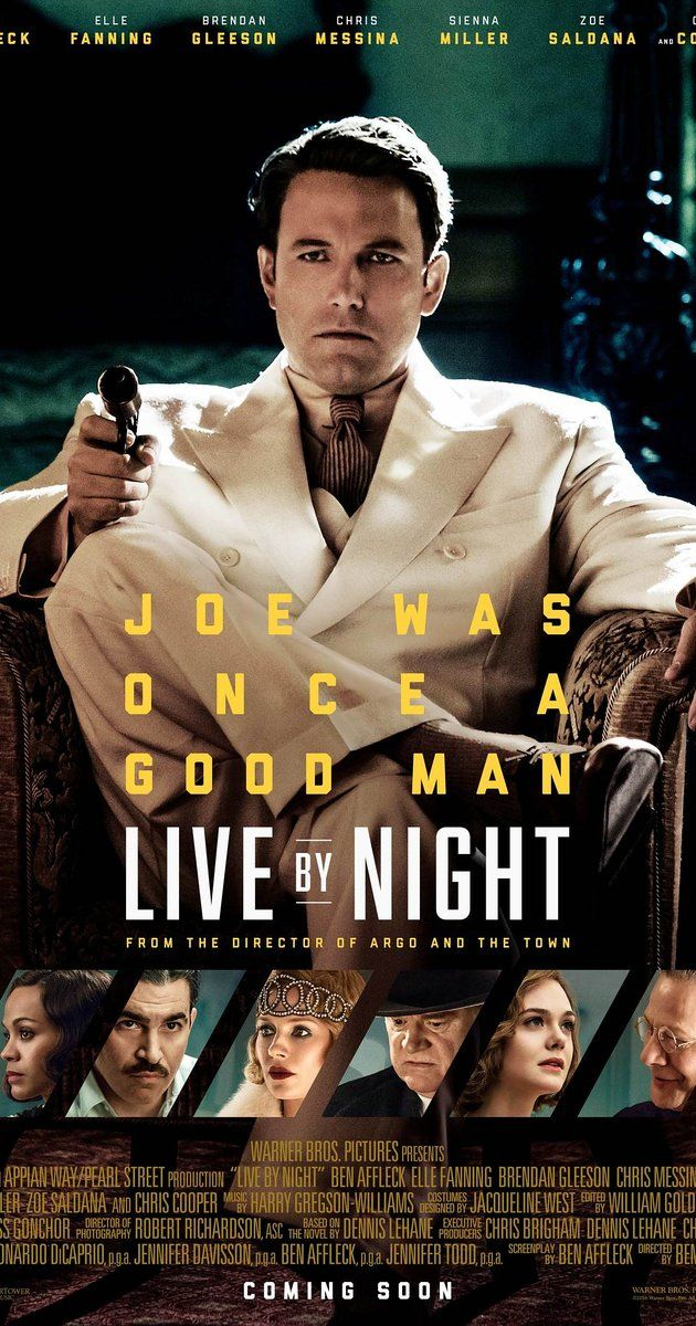 Live by Night (US, 2016) Good men go bad and vice versa in this old-fashioned gangster movie replete with great costumes, cars and decor, does a good job of recreating a 1927 balmy and bigoted Florida. It's not perfect but it's mostly fun. 3 stars