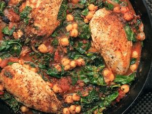 Chicken, chick pea, kale, and tomatoe one pot dishes