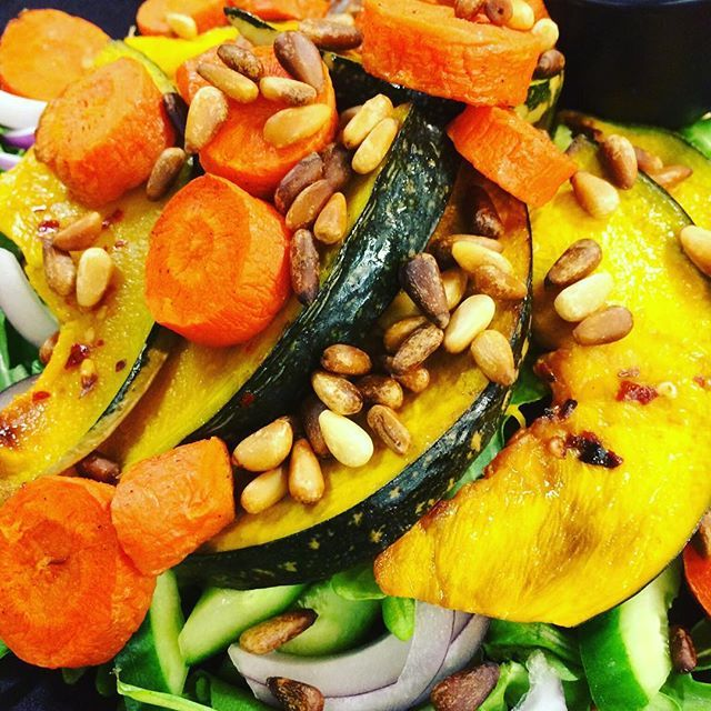 Salads salads salads... Spring is certainly inspiring when it comes to new salad combos. We love this pumpkin, carrot and pine nut combo, topped with a zingy sauce too. #salads #vegetarian #friday #2delicious4words