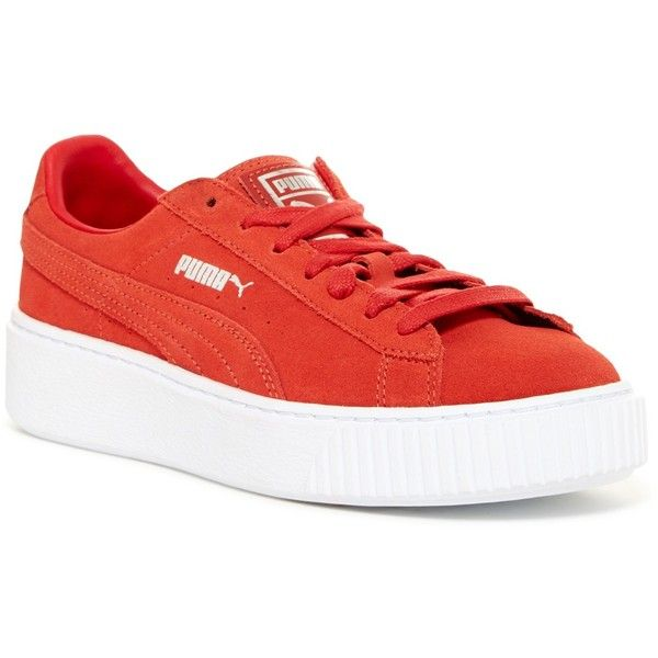 PUMA Suede Platform Sneaker (70825 IQD) ❤ liked on Polyvore featuring shoes, sneakers, red, puma sneakers, red suede sneakers, red platform shoes, platform sneakers and puma shoes