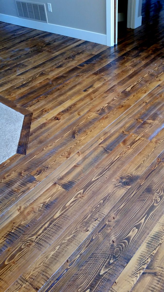 Circular sawn Douglas Fir hardwood flooring shown in our Yellowstone color. From Sustainable Lumber Co.