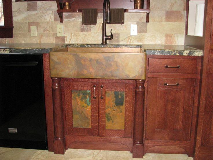 Custom Cabinet patina inserts to match the Copper apron front sink - küchenspüle mit unterschrank