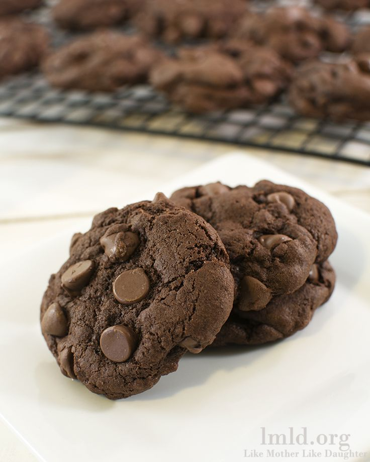 Chocolate chocolate chip cookies. I made these today. It's like eating chocolate CAKE! Absolutely DELICIOUS!