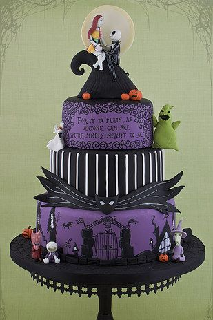 Get an amazing Nightmare Before Christmas cake. | 24 Completely Bewitching Tim Burton Inspired Wedding Ideas
