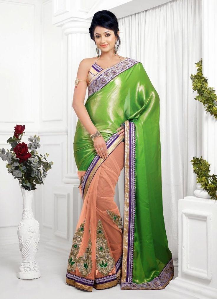 Green Peach Shimmer Net Designer Saree
